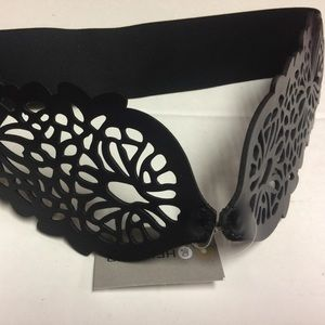 Black leather cutout belt from Anthropologie